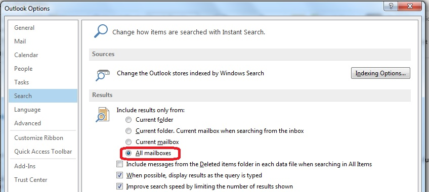 Outlook Search Options